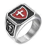 LANCHENEL Herren Rot Epoxy Schwarz Titan Stahl Kreuz Ringe,Größe 75(23.9)