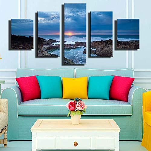 (YCWYF Modulare Bilder Home Decor Leinwand Malerei Rahmen 5 Panel Sonnenuntergang Meerblick Beste Bewertete Wandbilder Für Wohnzimmer Painting4)