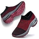 Belilent Damen Wanderschuhe - Schlupfsocken Plateau Krankenschwester Netzstoff Atmungsaktiv Luftkissen Socken Schuhe Schuhe leicht bequem, (Red Gray-005), 38 EU