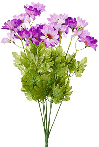 Fourwalls Synthetic Fabric Artificial Daisy Bunch (10 Branches, 20 Flower Heads, Purple)