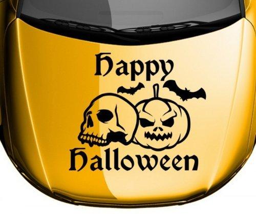 Autoaufkleber Happy Halloween Schädel Kürbis Text Sticker Aufkleber Auto 5O068, Farbe:Lavendel glanz;Breite vom Motiv:45cm - Lavendel Kürbis