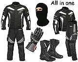 Ein voller Satz von wasserdichtem Motorrad 2 Stück Anzug Motorrad Moped Getriebe in Cordura Stoff mit CE-Zulassung Rüstung - Jacke + Hose + hohe Stiefeletten + Handschuhe + Sturmhaube (Grey - X-Large)
