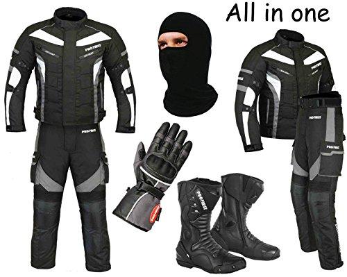 Ein voller Satz von wasserdichtem Motorrad 2 Stück Anzug Motorrad Moped Getriebe in Cordura Stoff mit CE-Zulassung Rüstung - Jacke + Hose + hohe Stiefeletten + Handschuhe + Sturmhaube (Grey - 2X-Large) (Stück Zwei Hosen-anzug)