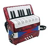 D DOLITY 17 Tasten Kinder Knopfakkordeon Musikinstrument Pädagogisches Spielzeug inkl. Tasche - Rot