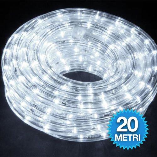 Tubo luci led per addobbi natale 20 metri bianco luce fredda interno ed esterno