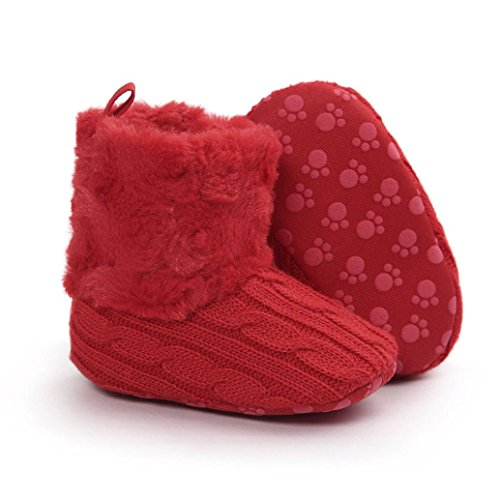 Chaussures Bébé,Fulltime® Chaussures Bottes Baby Soft Sole Neige Toddler Rouge