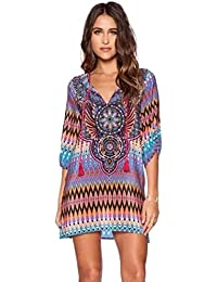 Yogogo Femmes Sexy Bohemian Style Ethnique Vintage Robes Printed T-shirts à manches 3/4 Chemise Tops Été Robe droite - FeiTong