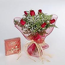 Ramo de 6 rosas rojas naturales y bombones FLORES FRESCAS-24 horas
