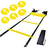 Blue Horizon Products AGILITY LADDER & CONES. Quality Training Equipment To Improve Soccer Football & Sports Skills. Easy To Use Carry & Store. Set Of 15ft Speed Ladder 10 Markers 4 Pegs & Easy Carry Bag