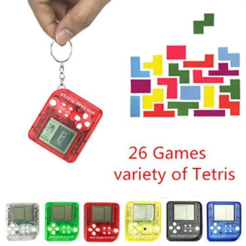ECMQS 26in1 Tetris Portable Handheld Spiel Konsole Anti-Stress EDC Spielzeug Mit Schlüsselanhänger, 1PC Zufällige Farbe (Tetris-spiel Handheld)