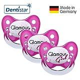Dentistar® Schnuller 3er Set- Nuckel Silikon in Größe 2, 6-14 Monate - zahnfreundlich & kiefergerecht - Beruhigungssauger für Babys - Pink Glamour Girl