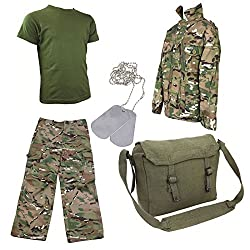 Kids Pack 8 HMTC Camo MTP Multicam Match Army Military Fancy Dress FREE Dog Tags