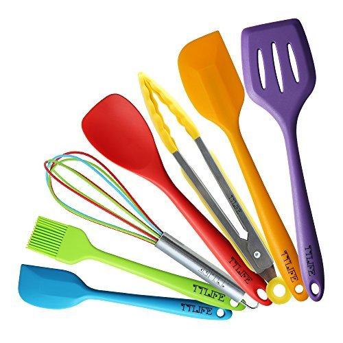 TTLIFE Premium Silikon Küchenhelfer (7 stück) - Teigschaber klein, Schneebesen, Spoonula, Pfannwender, Teigschaber groß,Grillzange,Backpinsel - Hitzebeständige Küchenzubehör/BBQ set/Küchen Utensilien Set für Kochen und Backen