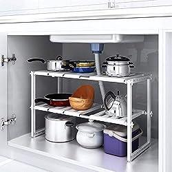 Home-Neat Etagère de Rangement sous évier Rack de Stockage Extensible Organisateur Rangement de Cuisine Maison Gain de Place Meuble Etagère de 2 étages en Acier Inoxydable