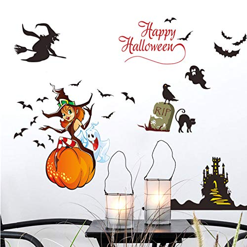 KHFVCSOMB Happy Halloween Decor Hexe Geist Kürbis Castel Bat Katze Wandaufkleber Aufkleber Wandbild Kunst Poster Home Decoration 112 * 68 cm (Happy Halloween Einfach Super)