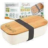 Vanli's Boîte à Bento Écologique en Fibre de Bambou | Lunch Box Réutilisable à Couvercle en Bois | Boîte à Sandwich Hermétique pour Conserver Les Aliments Frais | Respecte l'Environnement (700ml)