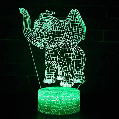 3D Luz Nocturna Pequeño Tema De Elefante Lámpara 3D Luz De Noche Led 7 Cambio De Color Touch Mood Lamp Regalo De Navidad