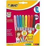 Bic Marking Color Marqueur Permanent Fuchsia / Violet / Turquoise / Vert clair / Jaune / Orange / Rouge / Noir 6+2 Gratuits