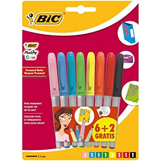 BIC Marking Marcadores Permamentes colores Vivos y Pastel punta media (1,8 mm) – colores Surtidos, Blíster de 6+2