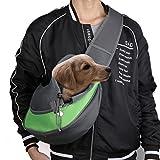 Freebily Hundetragetasche Single-Schulter Haustier Tragetasche Umhängetasche Rucksack für Hund Welpen Katze Chihuahua Transporttasche mit Komfotablem Haltegurt Grün L