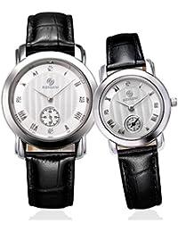 binlun pareja de relojes Ultra delgado su y para ella Relojes Set regalos para las mujeres hombres con correa de cuero negro japonés movimiento de cuarzo dial de color blanco