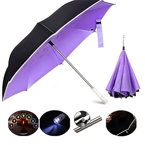 Éclairage LED Avertissement SOS Signal Parapluie inversé Parasol,l'aluminium pôle Parapluie Super-coupe-vent,210T,50D tissu Carambole haute Densité, UV imperméable à l'eau,pour extérieur,les Voyages