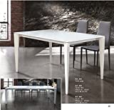 TABLES & Chairs Tischplatte Glas taupe oder weiß Struktur aus Metall ausziehbar Bianco 160x90