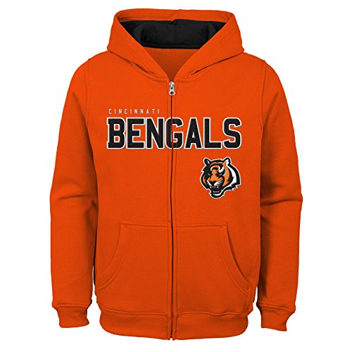 Outerstuff NFL Cincinnati Bengals Kinder und Jugendliche, Fleece-Kapuzenpullover mit Reißverschluss, Jungen, 9K1B72hg9 BNG B80-BXL20, Orange, Youth Boys X-Large(18) -