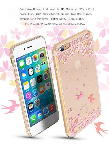 Silicone TPU Cover Coque pour Apple iPhone 6/6S (4.7 Pouces),CLTPY Ultra Mince Super Léger Créatif Cartoon Dessin Motif Séries Étui Case pour iPhone 6/6S,Anti-Rayures Transparente Souple Gel Bumper Pr Belle Rose