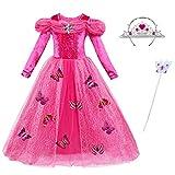 ChunTian Abito da Principessa Bambina Vestito Ragazza Carnevale Fantasia Farfalla Lunga Manica Rosa Costume Cerimonia con Corona Imperiale e Bacchetta Magica