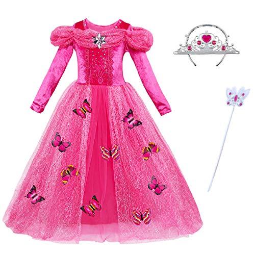 YUANMY Vestido de Princesa Nina Disfraz Fiesta Bebe Rosa Mangas Largas con Corona Imperial y Varita Mágica para Fiesta Carnaval Cumpleanos Cosplay
