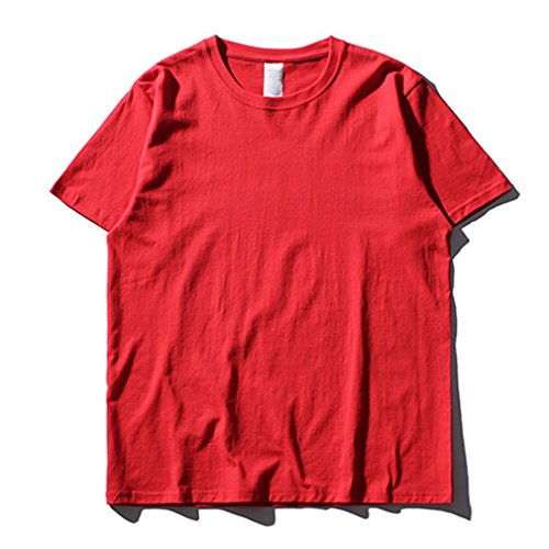 Honghu Herren Crew Neck Short Sleeve T-shirt Rot