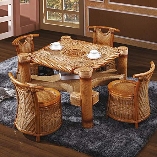seeksungm Chair, table, Natural Plant rotin Weaving Table And Chair Set, Household Environmental Protection Leisure rotin Table And Chair Set Of 5 Cane chair