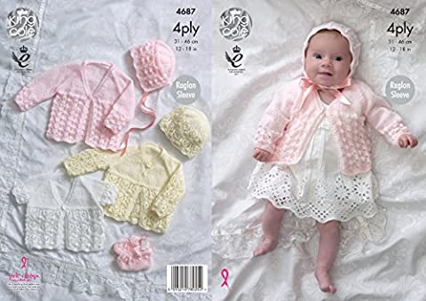 King Cole Baby 4 Ply Knitting Pattern for Raglan Sleeve Matinee Coats Bonnet Hat & Bootees (4687) by King Cole