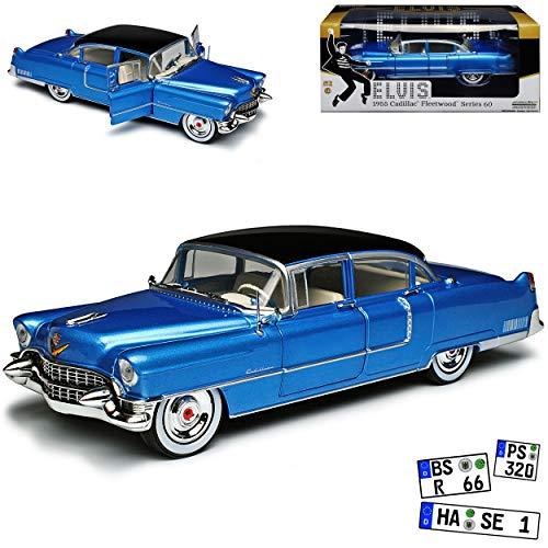 Greenlight Cadilac Fleetwood Serie 60 Elvis Presley Limousine Blau mit Silber Felgen 1955 1/24 Modell Auto