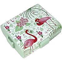 """com-four® Brotdose""""Flamingo"""" für unterwegs - Lunchbox mit Trennwänden - Frühstücksbox 19,5 x 17,5 x 6,5 cm (01 Stück - Flamingo)"""