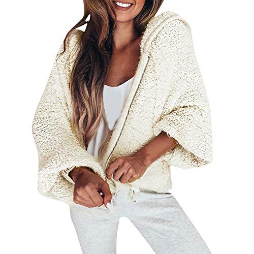 Preisvergleich Produktbild Plüschmantel Sannysis Damen Kapuzenpullover Herbst Winter Warme Langarm Reißverschluss Pullover Outdoorjacke Steppjacke Bluse Shirt Mantel Sweatshirt