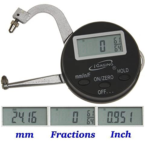 iGaging Digital Electronic THICKNESS GAGE 0-1/25mm MICROMETER CALIPER Inch/mm/Fractions by iGaging