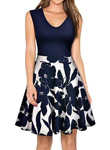 MIUSOL Kleid V-Vusschnitt Armellos Blume Patterned Mini Casual Kleid Navy Blau Gr.XL - 4