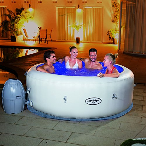 lay z spa paris hot tub with led lights airjet inflatable 4 6 person garden rattan furniture. Black Bedroom Furniture Sets. Home Design Ideas