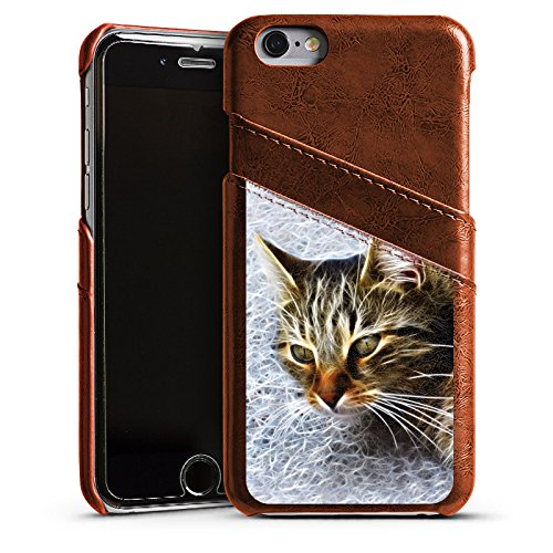 Apple iPhone 4 Housse Étui Silicone Coque Protection Chat Chat Petit chat Étui en cuir marron