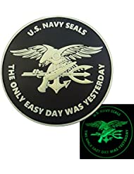 Glow Dark US Marine Navy Seals The Only Easy Day Was Yesterday DEVGRU Morale PVC Attache-boucle Écusson Patch