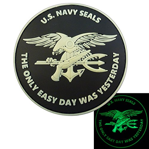 Glow Dark US Navy Seals The Only Easy Day Was Yesterday DEVGRU Morale PVC Fastener Patch