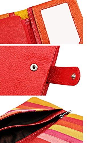 iSuperb® Pelle Portafoglio Donna Arcobaleno cinturino dell'orologio della frizione di classe cerniera di grande capienza della borsa della borsa del raccoglitore per carte di credito Cambio (Viola) Blu