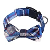 URIJK Comfy Plaid Bowtie Dog Collar - Adjustable Cotton Pet Dog Cat Collar with Bow Tie - Comfortable Strong Cute Fashion Collar for Dog Cat Puppy Doggie Grooming Accessories
