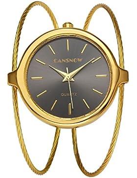 JSDDE Uhren,Damenuhr Chic Manschette Spangenuhr Zeitlose Design Armbanduhr Analog Quarzuhr Doppel Dünn Metallarmband...