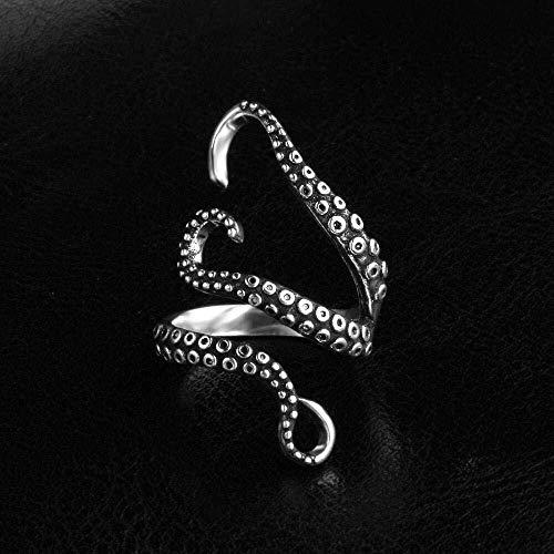 JIUJIUYITECH Punk-Ring, Vintage Ring öffnen Blase Vintage Octopus Sea Monster Squid antiken Ring (Color : B, Größe : M) (Männer Antiken Ring)