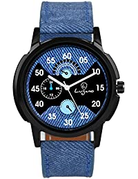 Lugano LG 1068 Blue Leather Analog Watch For Men/Boys