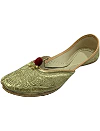 Step n Style Mujer Piel Khussa Flat Zapatos, color multicolor, talla 41.5