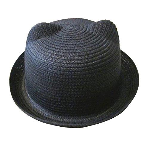 TININNA Oreille de Chat Nœud Enfant Casquette Chapeau de Soleil Mignon en Paille Plage Bonnet Noir
